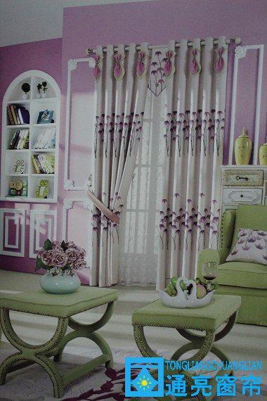 家居温馨牡丹花棉麻布艺3080-绿-粉紫